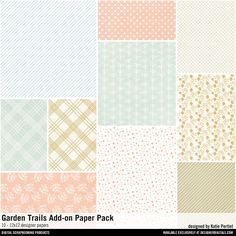 Garden Trails Add-On Paper Pack pastels patterned papers for instant download for card making and scrapbooking #designerdigitals