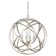Cast a warm glow over your foyer or dining room with this armillary-inspired pendant, showcasing a gold-hued finish and candlestick lights.