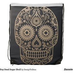 Day Dead Sugar Skull Drawstring Bag (22 CAD) ❤ liked on Polyvore featuring bags, draw string bag, backpack bags, drawstring backpack, draw string backpack and rucksack bags