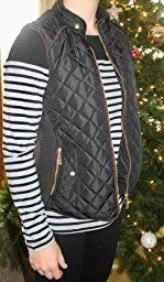 makeitmint Women's Basic Solid Quilted Padding Jacket Vest w/ Pockets [S-3XL] at Amazon Women's Clothing store: