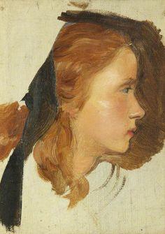 Vers 1864-John Everett Millais - Girl's Head Dante Gabriel Rossetti, John Everett Millais, Southampton, Glasgow Museum, Pre Raphaelite Brotherhood, Art Fund, Walker Art, Morris, English Artists