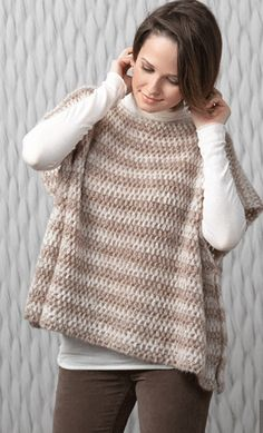 Poncho in Katia Air Alpaca. Discover more Patterns by Katia at LoveKnitting. The world& largest range of knitting supplies - we stock patterns, yarn, needles and books from all of your favorite brands. Poncho Au Crochet, Crochet Poncho Patterns, Crochet Yarn, Crochet Stitches, Free Crochet, Knit Crochet, Crochet Woman, Diy Laine, Crochet Simple