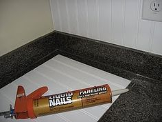 DIY beadboard backsplash. You can cover up anything with this.