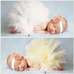 Fantasias recem nascido newborn baby girl 2pcs white and yellow flower headband and tutu skirt photo fotografia props accessory