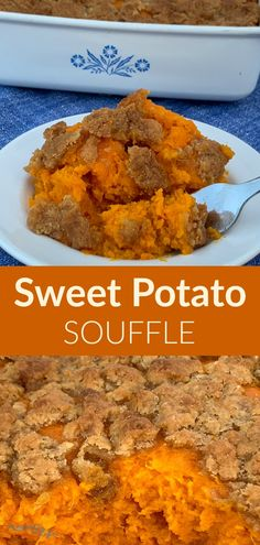 """Do you need a sweet potato side dish recipe idea? This Sweet Potato Soufflé is a favorite potato casserole at our Thanksgiving and holiday meals. I asked my husband to describe this recipe and he said, """"The butter, eggs and brown sugar enhance the sweet potato experience."""" Sweet Potato Side Dish, Potato Sides, Potato Side Dishes, Sweet Potato Souffle, Sweet Potato Soup, Thanksgiving Side Dishes, Thanksgiving Recipes, Thanksgiving Leftovers, Recipes"""