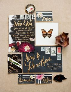 butterfly invitation on black paper