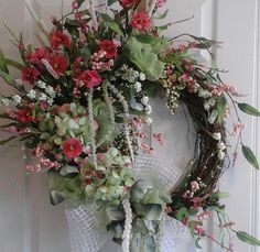 Spring Wreath, Summer Grapevine wreath,  Hydrangea, Berry, Wildflower, Wreath, Front Door, Home decor by GiftsByWhatABeautifu on Etsy