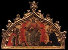 SIMONE DEI CROCEFISSI Throne of Grace with Four Saints  1360s Tempera on wood, 42 x 55 cm Akademie der bildenden Künste, Vienna  This panel was the upper part of an altarpiece, the lower part of which is lost. In the panel the Holy Trinity as a Throne of Grace is represented as Majestas Domini with a mandorla borne by angels.