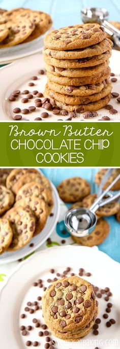 These Brown Butter Chocolate Chip Cookies are my favourite go to recipe. Made with brown butter and loaded with chocolate chips, they're moist, chewy and super indulgent. Biscuit Cookies, Yummy Cookies, Yummy Treats, Delicious Desserts, Dessert Recipes, Yummy Food, Best Cookie Recipes, Brownie Recipes, Sweet Recipes