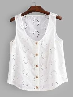 SHEIN offers Eyelet Embroidered Button Front Top & more to fit your fashionable needs.To find out about the [good_name] at SHEIN, part of our latest Tank Tops & Camis ready to shop online today! Diy Clothes, Clothes For Women, Sewing Blouses, Diy Dress, Short, Ideias Fashion, Fashion Ideas, Tank Tops, Casual