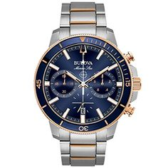 Bulova Men's Chronograph Marine Star Two-Tone Stainless Steel Bracelet Watch Jewelry & Watches - Watches - Macy's Men's Watches, Bulova Mens Watches, Luxury Watches, Watches For Men, Fine Watches, Fashion Watches, Wrist Watches, Popular Watches, Sport Watches