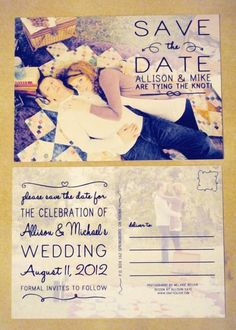 save the date postcard... this will save money since postcard stamps are cheaper