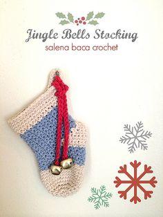 Ravelry: Jingle Bells Christmas Stockings (Fun, Small, Medium & Large sizes) pattern by Salena Baca Crochet Patern