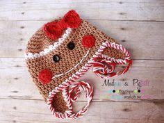 Gingerbread Girl Earflap, no pattern
