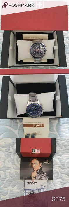 Tissot Mens Watch Authentic Swiss Movement. Blue dial. Stainless steel.  Includes extra links, box, book. Tissot Accessories Watches