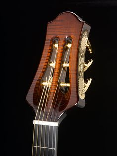 Archtop guitar headstock, by Theo Scharpach.