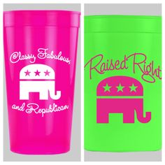 Republican neon stadium cups - 16 and 32 oz. Available at www.futurefirstlady.net!