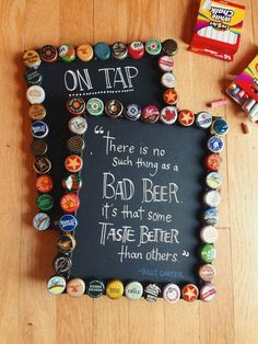 Chalk board with beer bottle caps