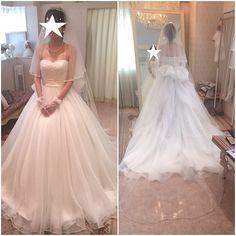 ドレスのサイズ合わせと小物合わせにいってきました これは挙式スタイルです  挙式の時のアクセは彼のお母さんにいただいたミキモトのネックレスとイヤリング  ベールはパールの付いたシンプルなロングベールにします  ドレスのリボンは大きめに作ってもらう予定  #プレ花嫁 #ウエディングドレス #小物合わせ by shi_wd07
