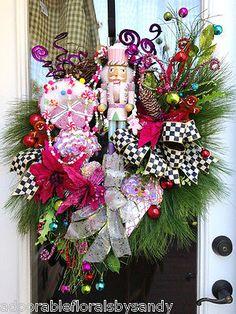 Holiday Nutcracker Gingergread Lollipop Ice Cream Winter Christmas Door Wreath http://www.ebay.com/itm/XL-Nutcracker-Gingerbread-lollipops-Ornaments-Winter-Christmas-Door-Wreath-/151163639608?pt=Floral_Decor&hash=item23320e1738