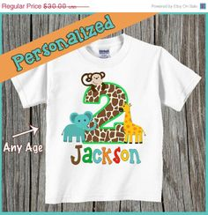 Valentines Day Sale Jungle Themed Birthday Shirt - Personalized with Name and Age on Etsy, $15.00