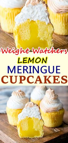 These Lemon Meringue Cupcakes are made with a lightly lemon flavored cupcake, lemon curd filling and lightly toasted meringue frosting! It's like Lemon Meringue Pie in cupcake form – so fun! For these cupcakes, the base starts with Ww Desserts, Weight Watchers Desserts, Lemon Desserts, Lemon Recipes, Ww Recipes, Skinny Recipes, Healthy Desserts, Baking Recipes, Recipies