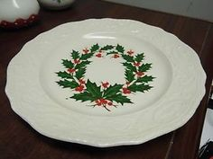 Adam Antique Christmas Holly and Berry Plate, Canonsburg Pottery Co. | eBay