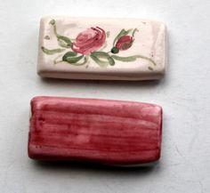 Handmade ceramic magnet set. Fridge magnet. Tile by RozaArt