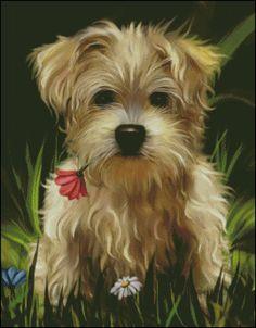 Gráfico PDF Punto de Cruz, Perro, Mascota, Perro en Punto de Cruz