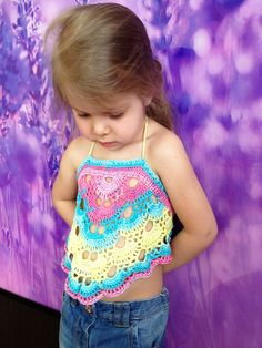 Toddler crop top/ Swing back top/ Festival crochet top/ Rainbow halter top/ Crochet baby girls top/ Crochet lace top/ Cropped bohemia top by ElenaVorobey on Etsy Crochet Toddler, Baby Girl Crochet, Crochet Baby Clothes, Cute Crochet, Crochet For Kids, Crochet Top, Top Crop Tejido En Crochet, Crochet Tunic Pattern, Crochet Halter Tops
