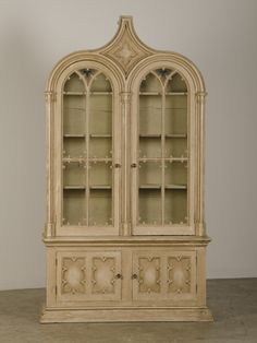 Antique English Gothic Revival Painted and Carved Cabinet of Grand Scale, 1840 | From a unique collection of antique and modern bookcases at https://www.1stdibs.com/furniture/storage-case-pieces/bookcases/