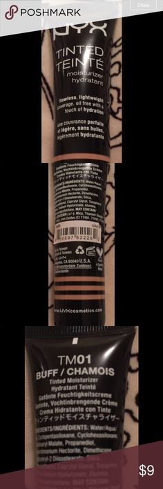 """NYX Tinted Moisturizer Buff TM01 Sealed Brand New Buff is a light beige. Pls check the Foundation Matrix to see if this will work for you. You can see if it is a match for your current foundation.  DESCRIPTION Lightweight with just a hint of sheer color this hydrating formula makes skin feel softer and smoother. The dewy natural glow provides a """"no-makeup"""" look and feel yet covers imperfections with a natural hydrating touch. 272 NYX Cosmetics Makeup Foundation"""