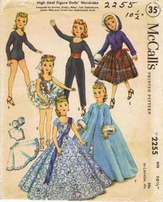 Amazon.com - McCall's 2255 Vintage Sewing Pattern Little Miss Revlon Sweet Sue Doll Clothes - Sewing Templates