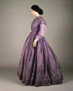 1860's Scottish tamboured day dress. Exquisite!
