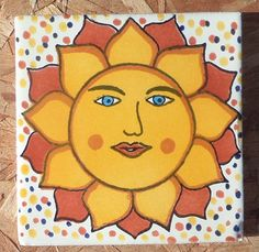 """9 Mexican Talavera Pottery 4"""" Tile Hand Painted Mexico Assorted Suns Gold Green 