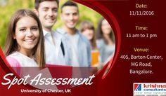 Spot Assessment and Training by University of Chester, UK at Krishna Consultants, #Bangalore.  Delegate visiting: Mr.Kiran Appana