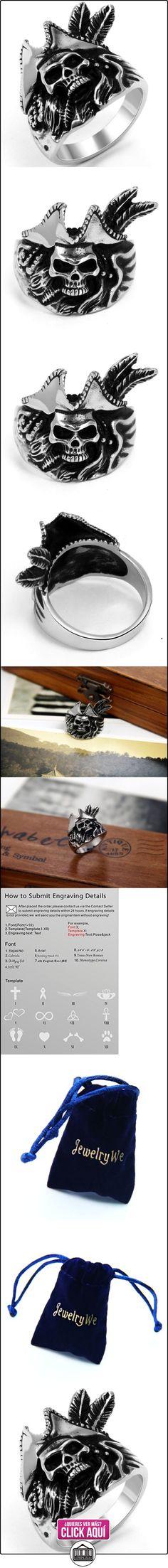 JewelryWe Anillo de la joyería de acero inoxidable de la mujer del hombre Capitán Pirata de la banda para el compromiso y el anillo de bodas de plata negro  ✿ Joyas para mujer - Las mejores ofertas ✿ ▬► Ver oferta: https://comprar.io/goto/B00F9XEHIE