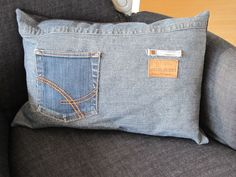 Denim pillow - great for the sofa - pocket for the remote!