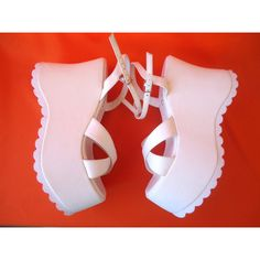 Vintage 90's WHITE CHUNKY WEDGE Platforms Grunge Punk Sandals Shoes Boots Sz 6.5 ($48) found on Polyvore