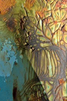 Cracked and peeling paint on a wall, I find this beautiful.