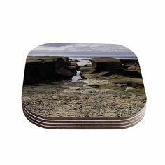 Kess InHouse Nick Nareshni 'Stones Leading To Ocean' Blue Coasters