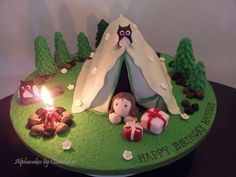 Camp themed cake for my friend's daughter Birthday on Friday Camping Theme Cakes, Camping Birthday Cake, 12th Birthday Cake, Birthday Cake Girls, Birthday Bash, Birthday Ideas, Paul Cakes, Campfire Cake, Gravity Defying Cake