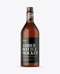 1L Amber Glass Beverage Bottle Mockup