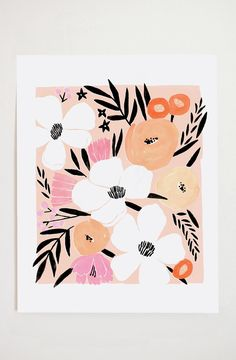 Art print, from original gouache painting, by Lisa Rupp. Archival quality, 110 lb. paper 11x14 Looks great when paired with my Pink Floral Bouquet II print! Ships in a protective sleeve, in a flat mailer.