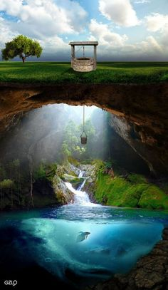 ♂ Dream / Imagination / Surrealism - cave, mountain, well, water, nature