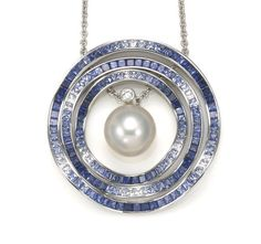A South Sea cultured pearl, sapphire and diamond Ocean Ripple pendant with chain, Mikimoto