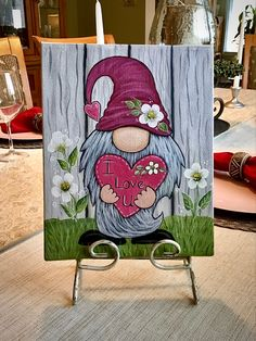 Canvas painting of a Gnome Tole Painting, Diy Painting, Painting On Wood, Gnome Paint, Rock Painting Patterns, Paint And Sip, Learn To Paint, Paint Designs, Gnomes