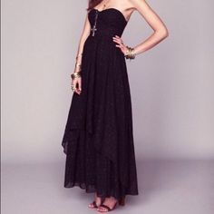 Free People Eyelet Indian Enchantment Dress XS Maxi cotton dress with eyelet details, black, twisted bust design, layered skirt, new without tags, never worn Free People Dresses Maxi