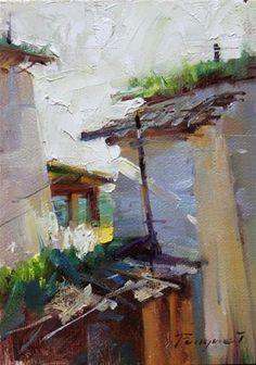 "Daily Paintworks - ""Shangri - La -- the Village"" - Original Fine Art for Sale - © Fongwei Liu"