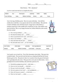 Listen to the teacher read the story. Fill in the blanks using the words from the word box. Answer the Wh- questions about the story. Two short stories linked. Writing Practice Worksheets, Reading Comprehension Worksheets, Vocabulary Worksheets, Teacher Worksheets, Printable Worksheets, 2nd Grade Short Stories, English Short Stories, Paragraph Writing, Writing Rubrics